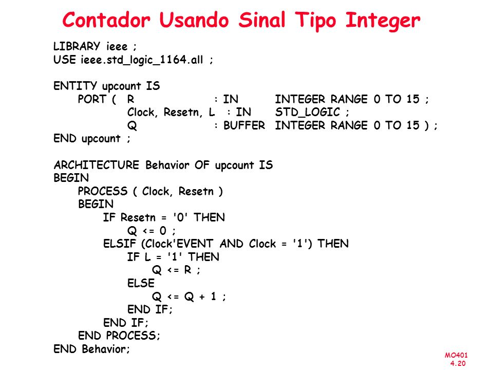 MO401 4.20 Contador Usando Sinal Tipo Integer LIBRARY ieee ; USE ieee.std_logic_1164.all ; ENTITY upcount IS PORT (R : IN INTEGER RANGE 0 TO 15 ; Clock, Resetn, L : IN STD_LOGIC ; Q : BUFFER INTEGER RANGE 0 TO 15 ) ; END upcount ; ARCHITECTURE Behavior OF upcount IS BEGIN PROCESS ( Clock, Resetn ) BEGIN IF Resetn = 0 THEN Q <= 0 ; ELSIF (Clock EVENT AND Clock = 1 ) THEN IF L = 1 THEN Q <= R ; ELSE Q <= Q + 1 ; END IF; END PROCESS; END Behavior;