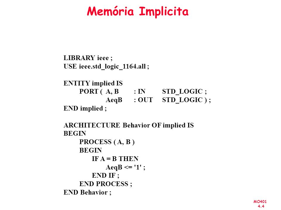 MO401 4.4 Memória Implicita LIBRARY ieee ; USE ieee.std_logic_1164.all ; ENTITY implied IS PORT ( A, B : IN STD_LOGIC ; AeqB: OUT STD_LOGIC ) ; END im