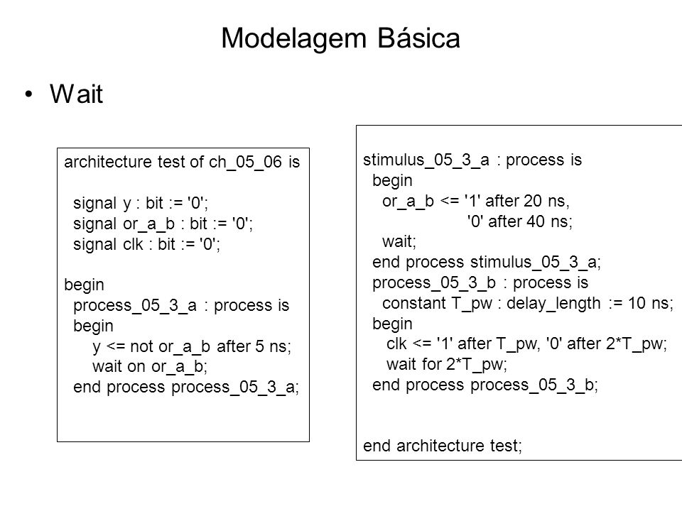 Modelagem Básica Wait stimulus_05_3_a : process is begin or_a_b <= 1 after 20 ns, 0 after 40 ns; wait; end process stimulus_05_3_a; process_05_3_b : process is constant T_pw : delay_length := 10 ns; begin clk <= 1 after T_pw, 0 after 2*T_pw; wait for 2*T_pw; end process process_05_3_b; end architecture test; architecture test of ch_05_06 is signal y : bit := 0 ; signal or_a_b : bit := 0 ; signal clk : bit := 0 ; begin process_05_3_a : process is begin y <= not or_a_b after 5 ns; wait on or_a_b; end process process_05_3_a;