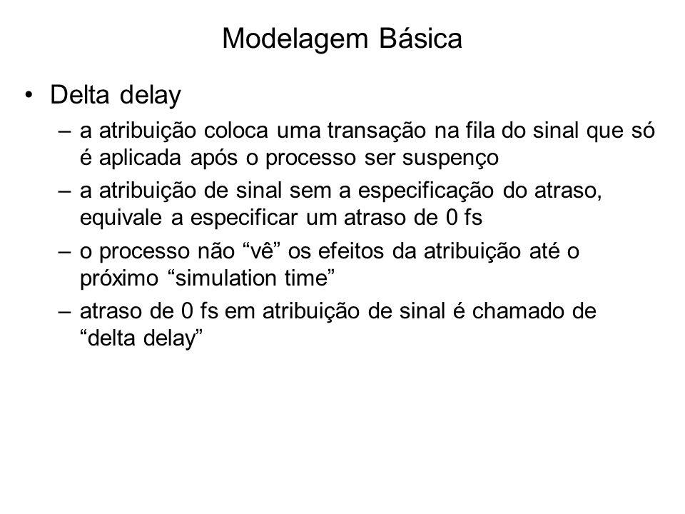 Modelagem Básica Delta delay –a atribuição coloca uma transação na fila do sinal que só é aplicada após o processo ser suspenço –a atribuição de sinal sem a especificação do atraso, equivale a especificar um atraso de 0 fs –o processo não vê os efeitos da atribuição até o próximo simulation time –atraso de 0 fs em atribuição de sinal é chamado de delta delay