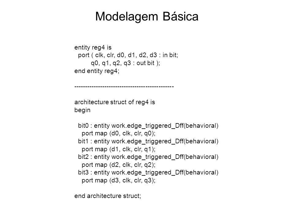 Modelagem Básica entity reg4 is port ( clk, clr, d0, d1, d2, d3 : in bit; q0, q1, q2, q3 : out bit ); end entity reg4; ---------------------------------------------- architecture struct of reg4 is begin bit0 : entity work.edge_triggered_Dff(behavioral) port map (d0, clk, clr, q0); bit1 : entity work.edge_triggered_Dff(behavioral) port map (d1, clk, clr, q1); bit2 : entity work.edge_triggered_Dff(behavioral) port map (d2, clk, clr, q2); bit3 : entity work.edge_triggered_Dff(behavioral) port map (d3, clk, clr, q3); end architecture struct;