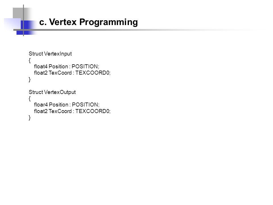 Struct VertexInput { float4 Position : POSITION; float2 TexCoord : TEXCOORD0; } Struct VertexOutput { floar4 Position : POSITION; float2 TexCoord : TE