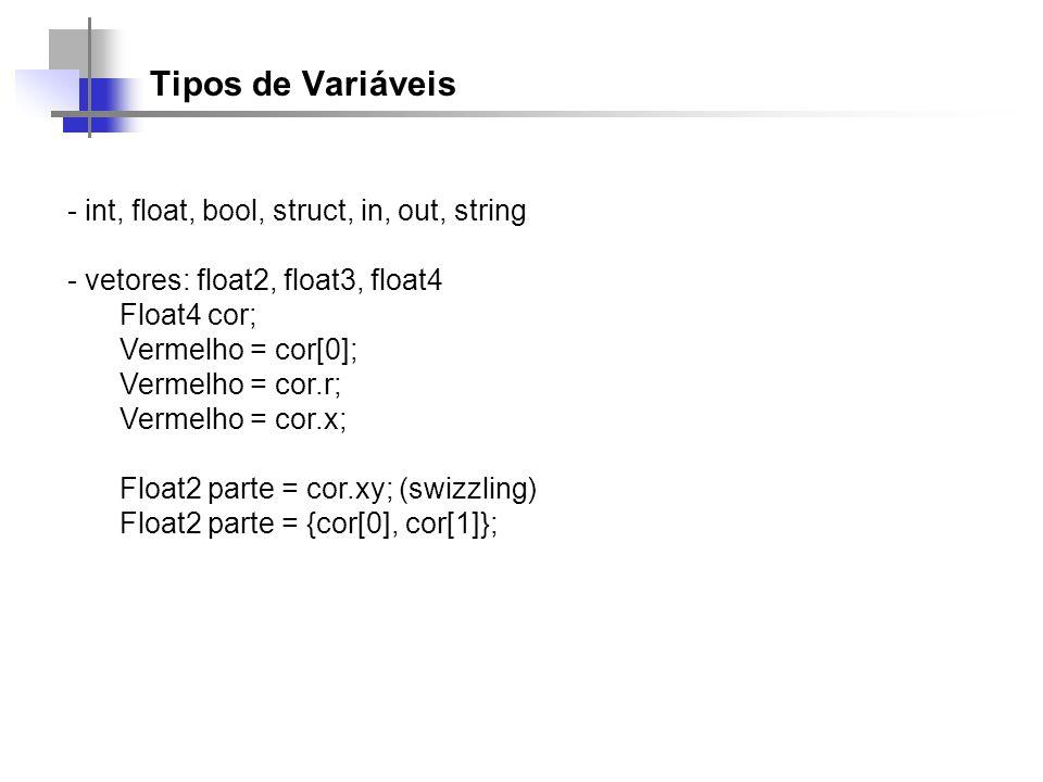 Tipos de Variáveis - int, float, bool, struct, in, out, string - vetores: float2, float3, float4 Float4 cor; Vermelho = cor[0]; Vermelho = cor.r; Verm
