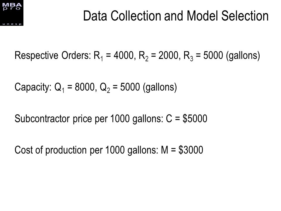 Respective Orders: R 1 = 4000, R 2 = 2000, R 3 = 5000 (gallons) Capacity: Q 1 = 8000, Q 2 = 5000 (gallons) Subcontractor price per 1000 gallons: C = $