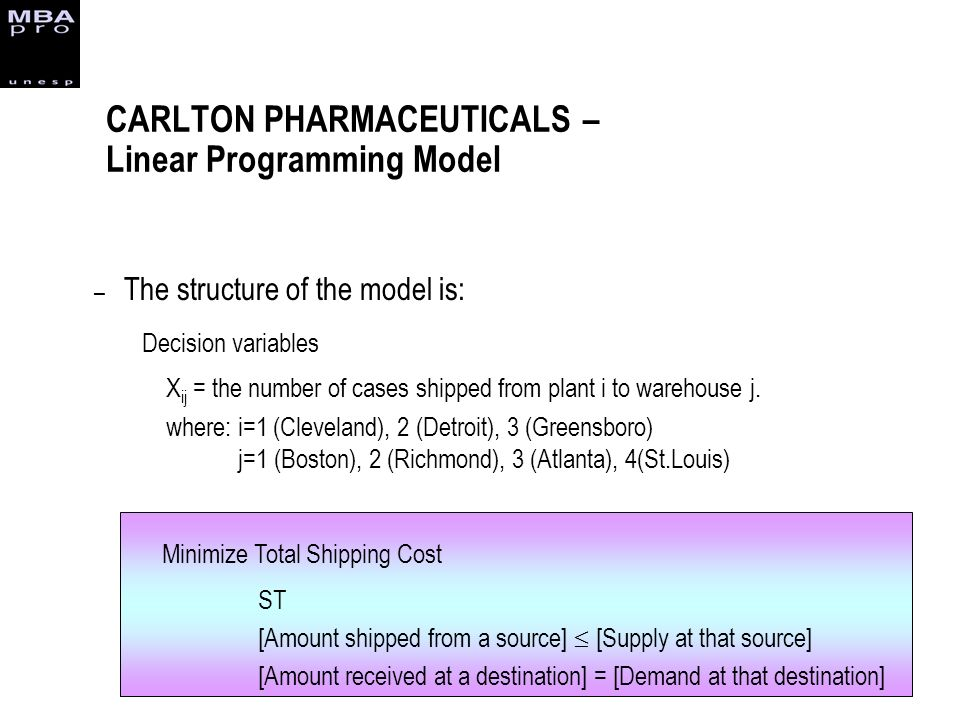 – The structure of the model is: Decision variables X ij = the number of cases shipped from plant i to warehouse j. where: i=1 (Cleveland), 2 (Detroit
