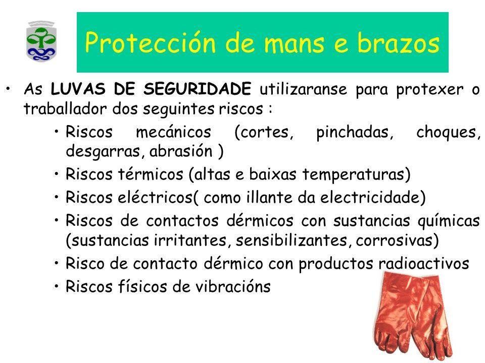 Protección de mans e brazos As LUVAS DE SEGURIDADE utilizaranse para protexer o traballador dos seguintes riscos : Riscos mecánicos (cortes, pinchadas