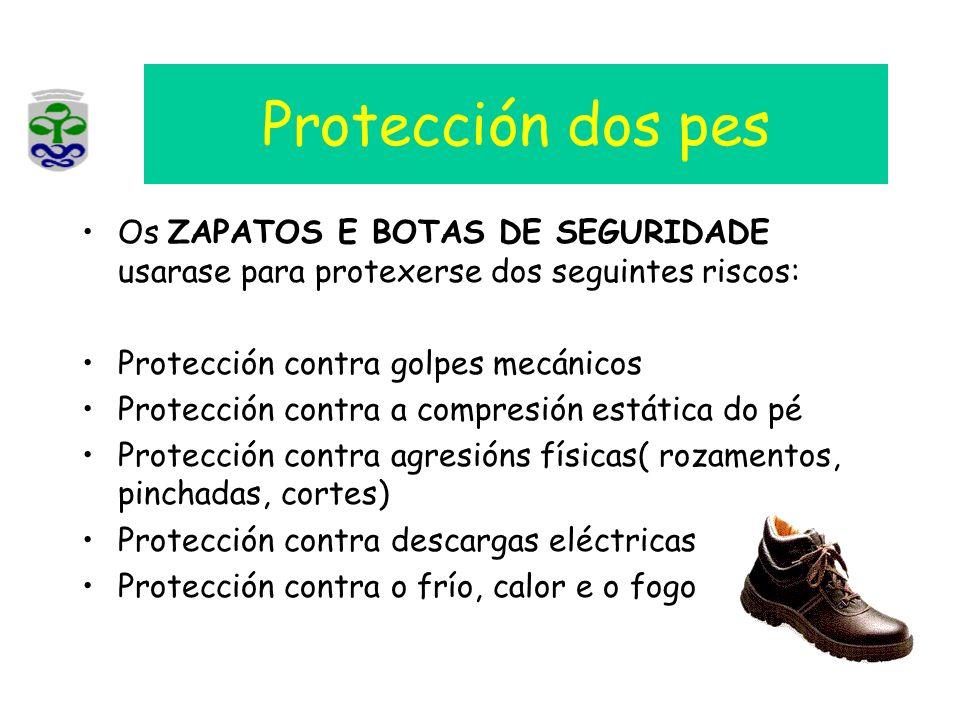 Protección dos pes Os ZAPATOS E BOTAS DE SEGURIDADE usarase para protexerse dos seguintes riscos: Protección contra golpes mecánicos Protección contra