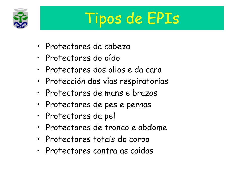 Tipos de EPIs Protectores da cabeza Protectores do oído Protectores dos ollos e da cara Protección das vías respiratorias Protectores de mans e brazos