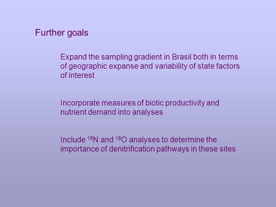Further goals Expand the sampling gradient in Brasil both in terms of geographic expanse and variability of state factors of interest Incorporate measures of biotic productivity and nutrient demand into analyses Include 15 N and 18 O analyses to determine the importance of denitrification pathways in these sites
