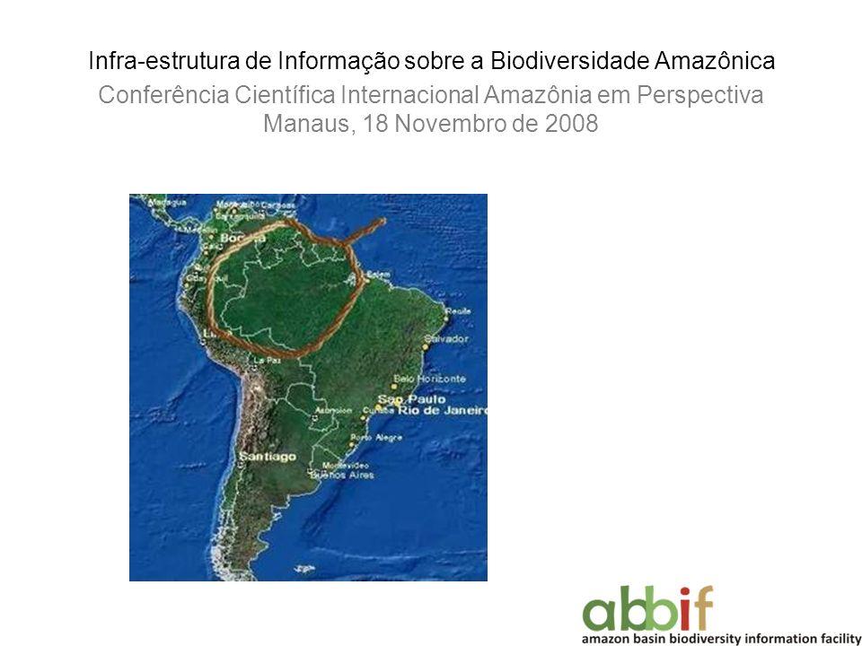 Infra-estrutura de Informação sobre a Biodiversidade Amazônica Conferência Científica Internacional Amazônia em Perspectiva Manaus, 18 Novembro de 2008