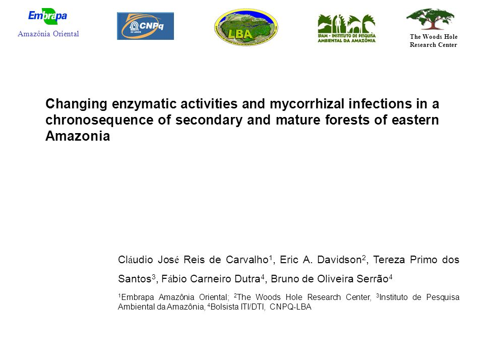 Changing enzymatic activities and mycorrhizal infections in a chronosequence of secondary and mature forests of eastern Amazonia Cl á udio Jos é Reis de Carvalho 1, Eric A.