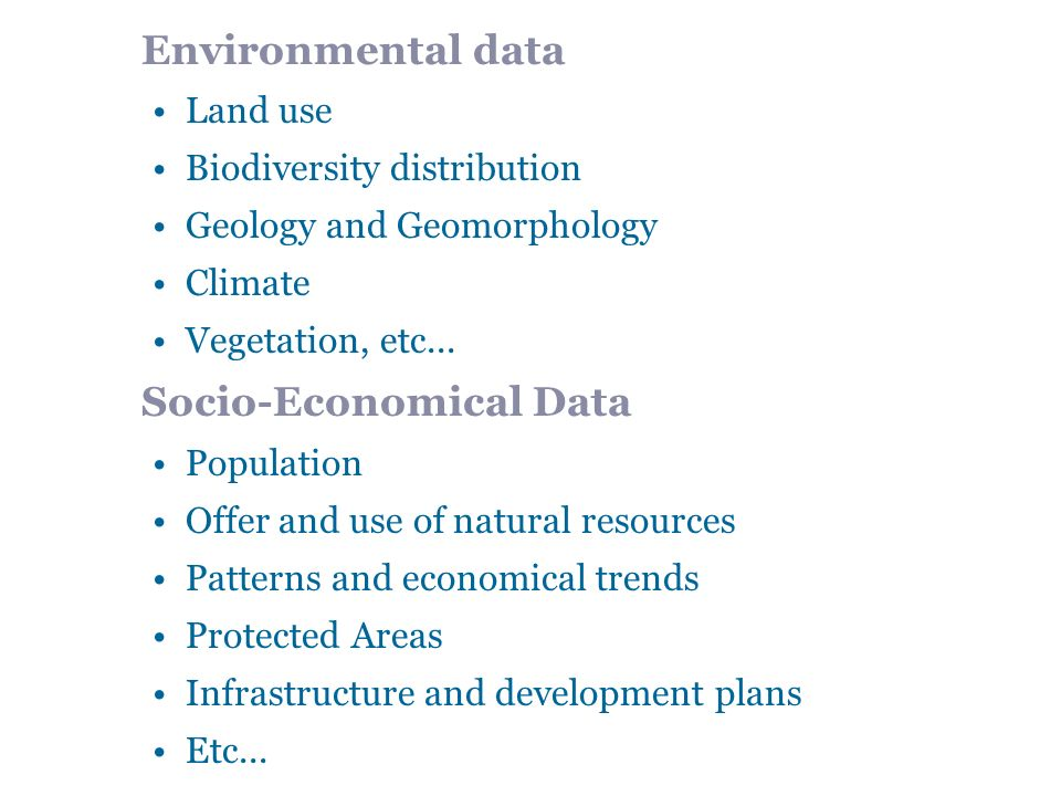 Environmental data Land use Biodiversity distribution Geology and Geomorphology Climate Vegetation, etc...
