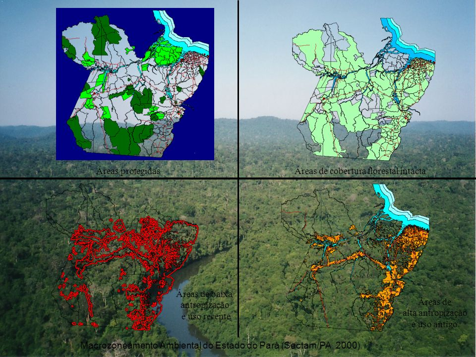 Macrozoneamento Ambiental do Estado do Pará (Sectam/PA, 2000). Áreas protegidasÁreas de cobertura florestal intacta Áreas de baixa antropização e uso