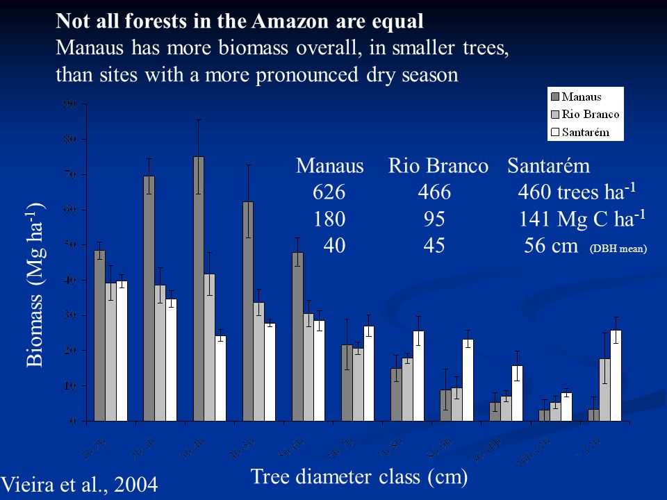 Biomass (Mg ha -1 ) Tree diameter class (cm) Not all forests in the Amazon are equal Manaus has more biomass overall, in smaller trees, than sites with a more pronounced dry season Manaus Rio Branco Santarém 626 466 460 trees ha -1 180 95 141 Mg C ha -1 40 45 56 cm (DBH mean) Vieira et al., 2004
