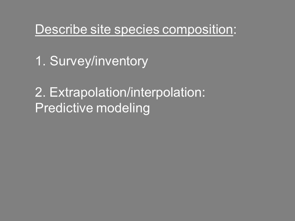 Describe site species composition: 1. Survey/inventory 2. Extrapolation/interpolation: Predictive modeling