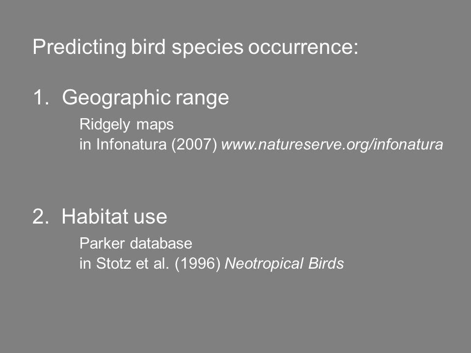 Predicting bird species occurrence: 1.