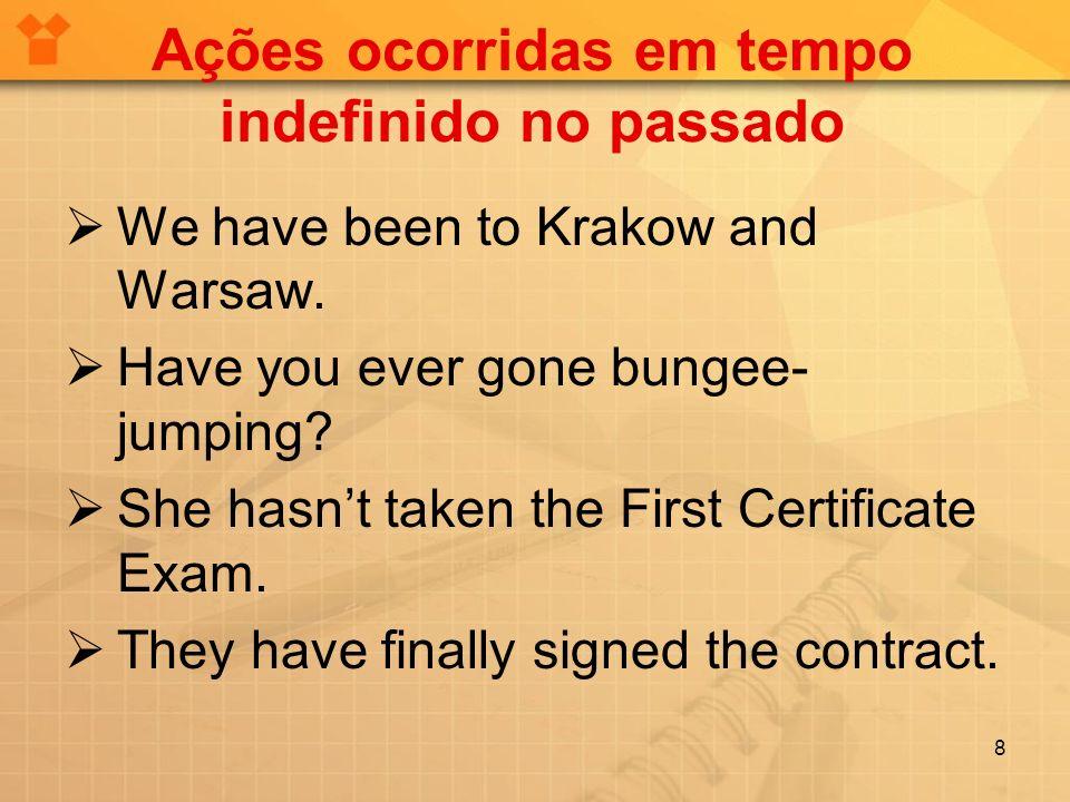 Ações ocorridas em tempo indefinido no passado We have been to Krakow and Warsaw.
