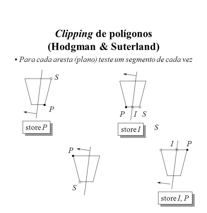 Clipping de polígonos (Hodgman & Suterland) Para cada aresta (plano) teste um segmento de cada vez S P store P S P S SP store I I P store I, P I