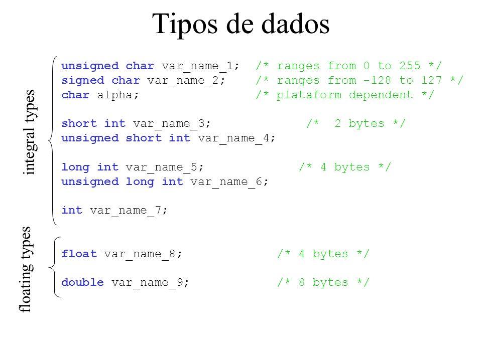 Tipos de dados unsigned char var_name_1; /* ranges from 0 to 255 */ signed char var_name_2; /* ranges from -128 to 127 */ char alpha; /* plataform dependent */ short int var_name_3; /* 2 bytes */ unsigned short int var_name_4; long int var_name_5; /* 4 bytes */ unsigned long int var_name_6; int var_name_7; float var_name_8; /* 4 bytes */ double var_name_9; /* 8 bytes */ integral types floating types