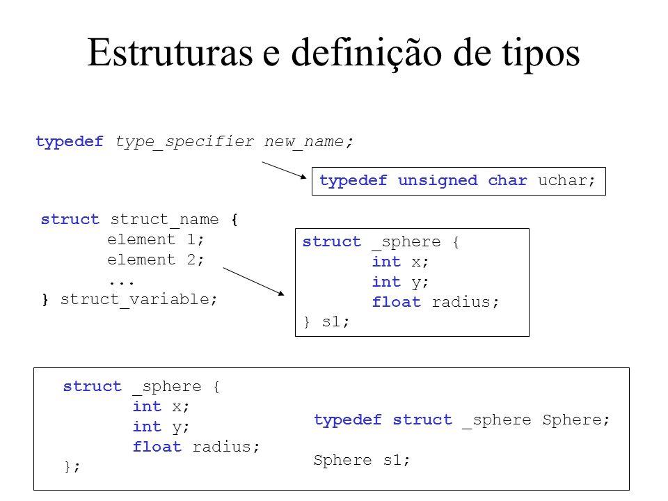 Estruturas e definição de tipos struct struct_name { element 1; element 2;...
