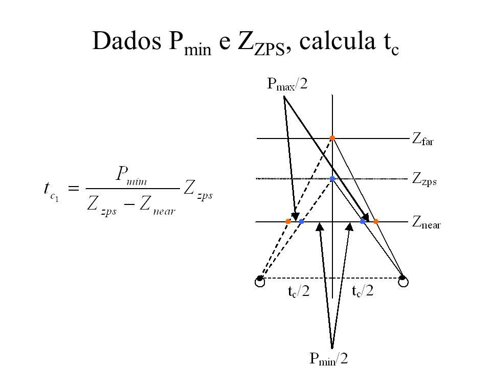 Dados P min e Z ZPS, calcula t c