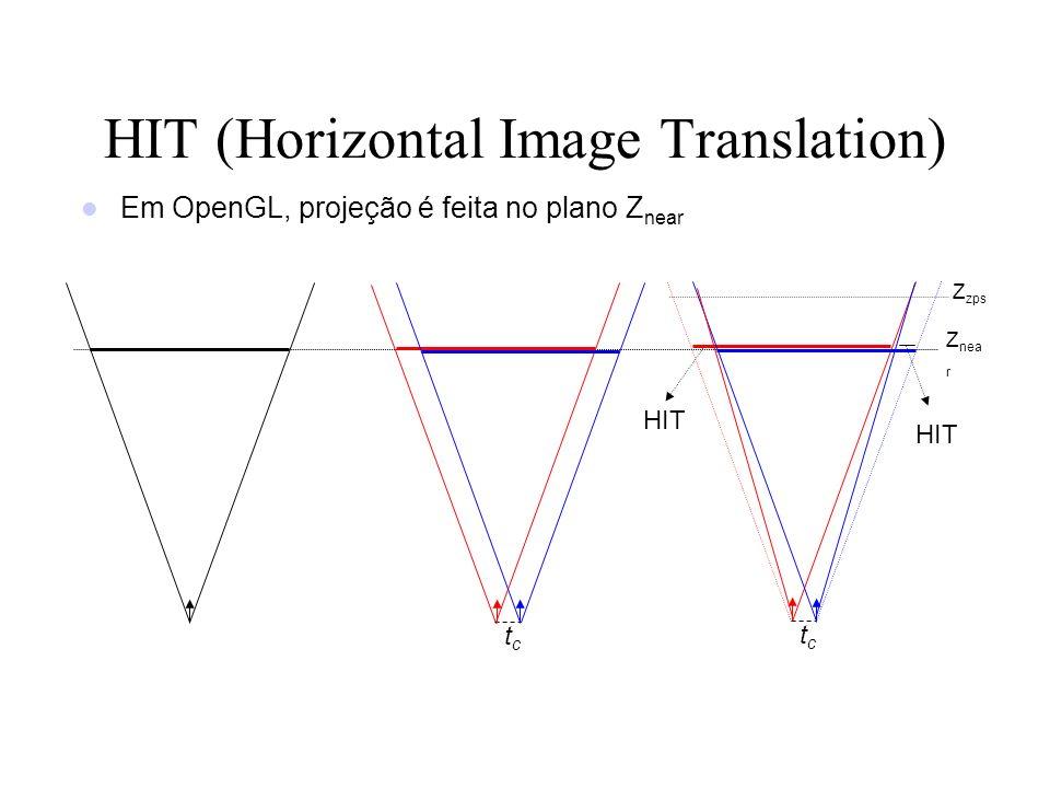 tctc HIT (Horizontal Image Translation) HIT Em OpenGL, projeção é feita no plano Z near Z nea r tctc Z zps