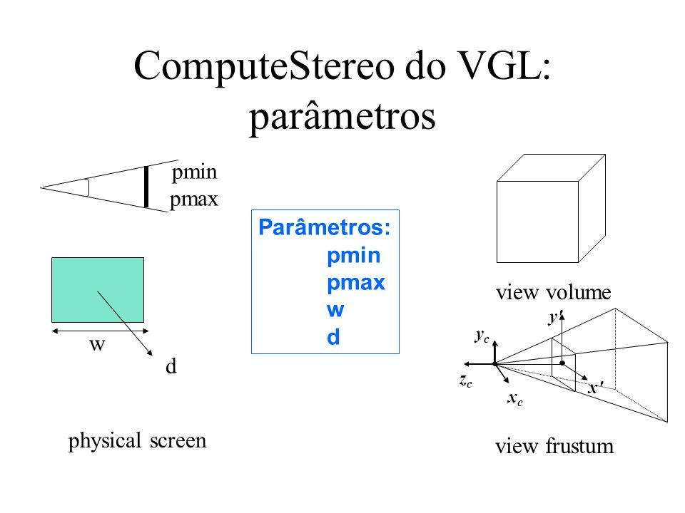 ComputeStereo do VGL: parâmetros Parâmetros: pmin pmax w d view volume d w xcxc ycyc zczc y x view frustum physical screen pmin pmax