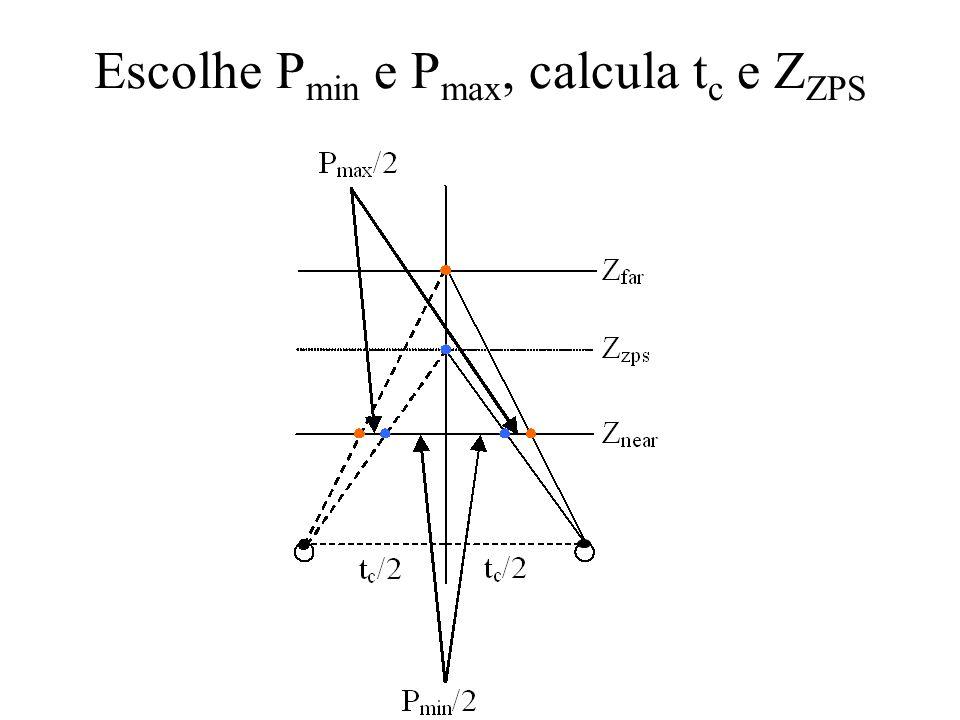 Escolhe P min e P max, calcula t c e Z ZPS