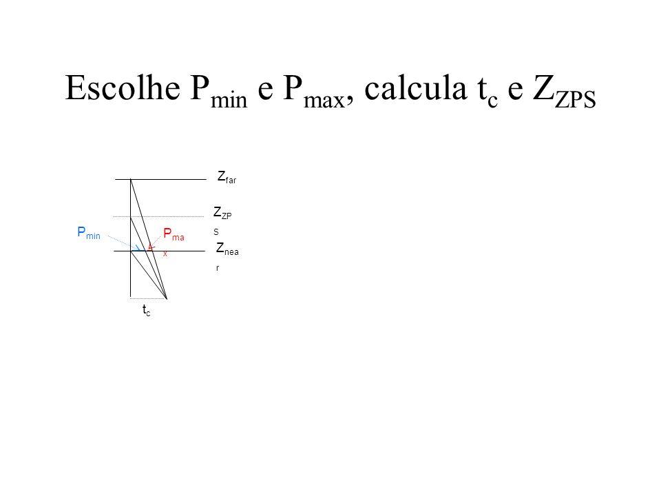 Escolhe P min e P max, calcula t c e Z ZPS tctc Z nea r Z far Z ZP S P min P ma x t c / Z far = (P min + P max ) / (Z far - Z near ) t c = Z far.