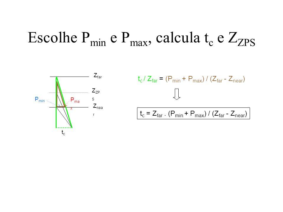 Escolhe P min e P max, calcula t c e Z ZPS tctc Z nea r Z far Z ZP S P min P ma x t c / Z ZPS = P min / (Z ZPS - Z near ) Z ZPS = Z near.