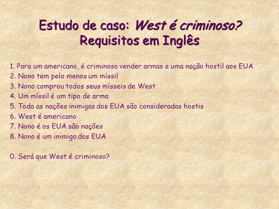 Estudo de caso: West é criminoso. Requisitos em Inglês 1.
