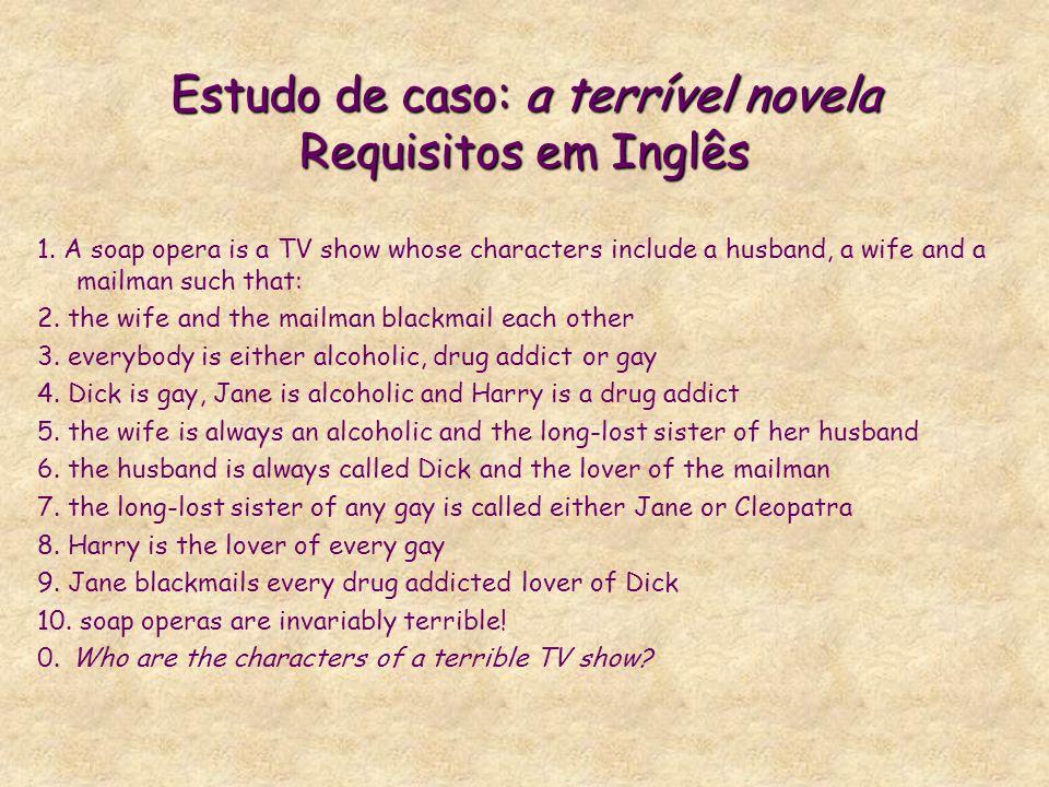 Estudo de caso: a terrível novela Requisitos em Inglês 1. A soap opera is a TV show whose characters include a husband, a wife and a mailman such that