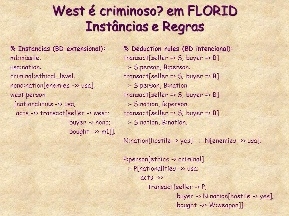 West é criminoso? em FLORID Instâncias e Regras % Instancias (BD extensional): m1:missile. usa:nation. criminal:ethical_level. nono:nation[enemies ->>