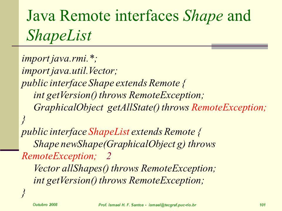 Outubro 2008 Prof. Ismael H. F. Santos - ismael@tecgraf.puc-rio.br 101 Java Remote interfaces Shape and ShapeList import java.rmi.*; import java.util.