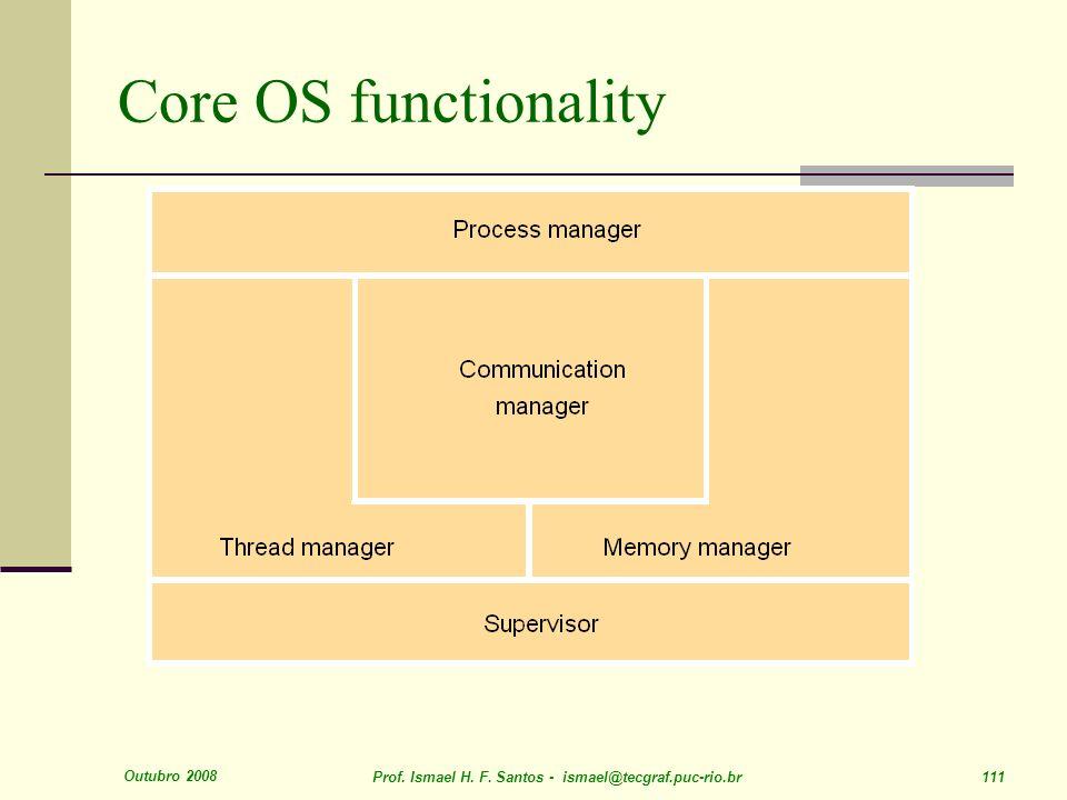 Outubro 2008 Prof. Ismael H. F. Santos - ismael@tecgraf.puc-rio.br 111 Core OS functionality