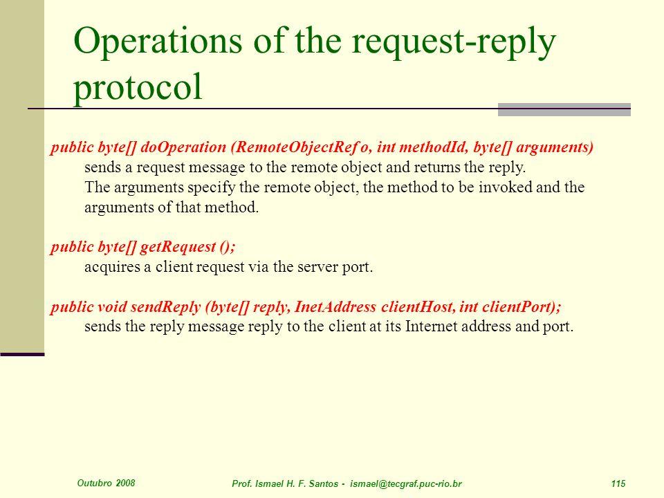 Outubro 2008 Prof. Ismael H. F. Santos - ismael@tecgraf.puc-rio.br 115 Operations of the request-reply protocol public byte[] doOperation (RemoteObjec