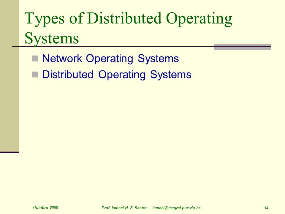 Outubro 2008 Prof. Ismael H. F. Santos - ismael@tecgraf.puc-rio.br 14 Types of Distributed Operating Systems Network Operating Systems Distributed Ope