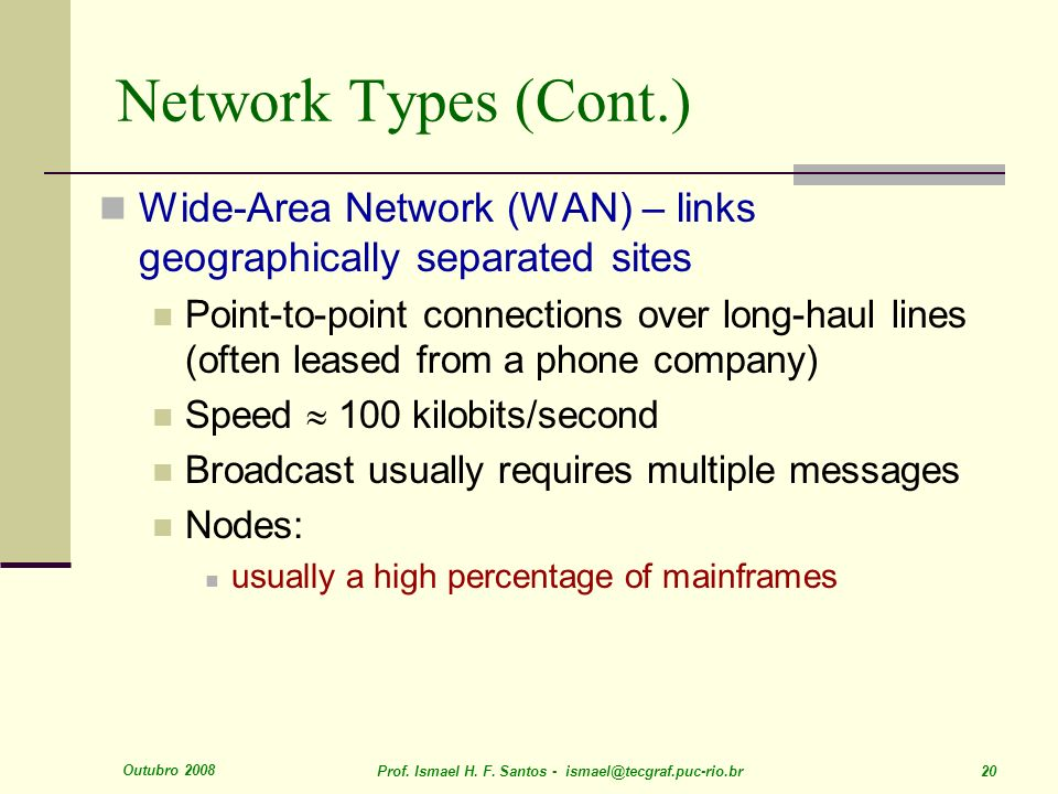 Outubro 2008 Prof. Ismael H. F. Santos - ismael@tecgraf.puc-rio.br 20 Network Types (Cont.) Wide-Area Network (WAN) – links geographically separated s