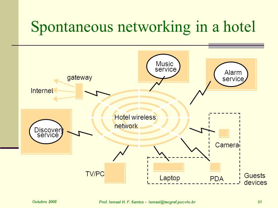 Outubro 2008 Prof. Ismael H. F. Santos - ismael@tecgraf.puc-rio.br 51 Spontaneous networking in a hotel Internet gateway PDA service Music service Dis