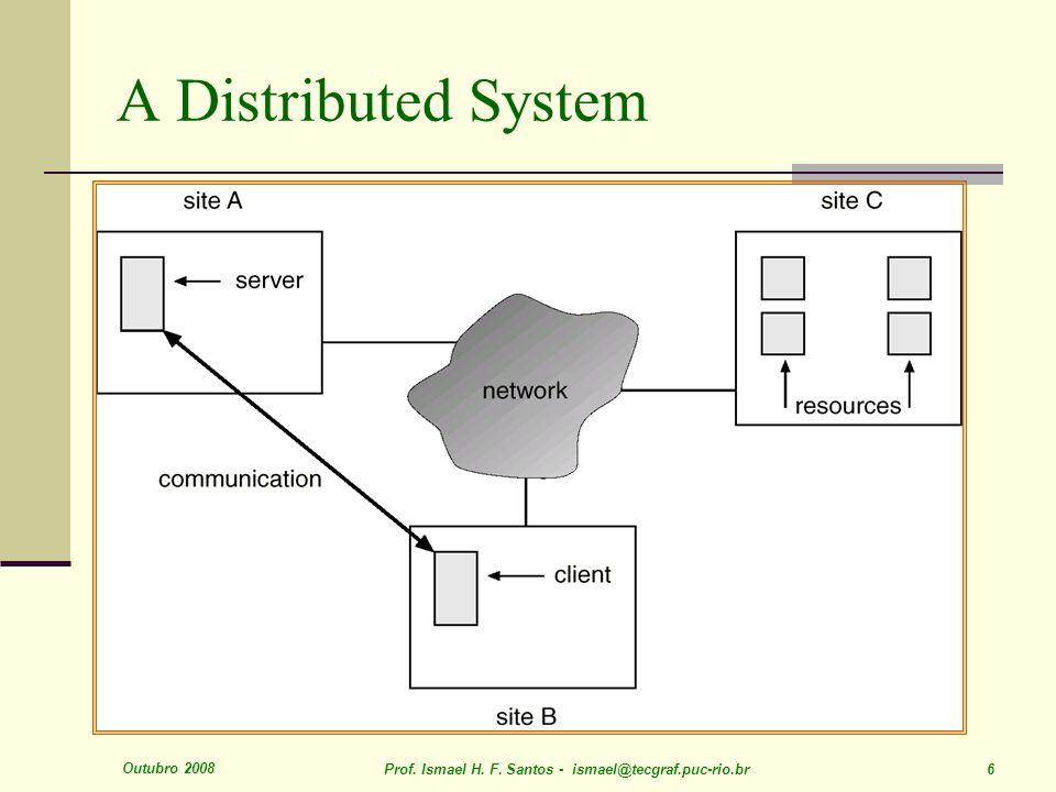 Outubro 2008 Prof. Ismael H. F. Santos - ismael@tecgraf.puc-rio.br 6 A Distributed System