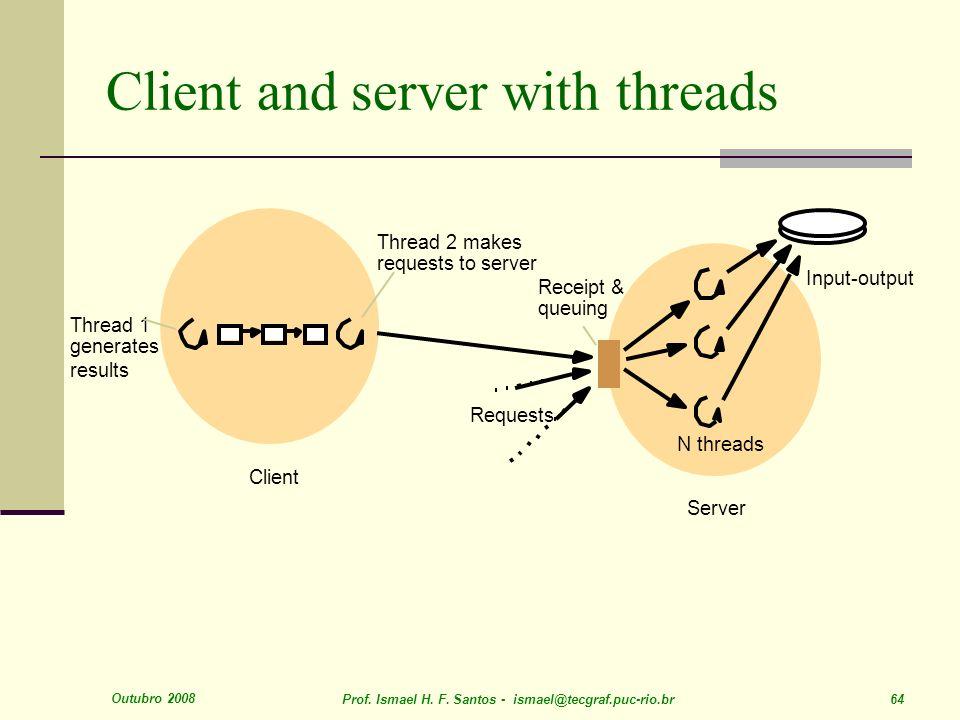 Outubro 2008 Prof. Ismael H. F. Santos - ismael@tecgraf.puc-rio.br 64 Client and server with threads Server N threads Input-output Client Thread 2 mak