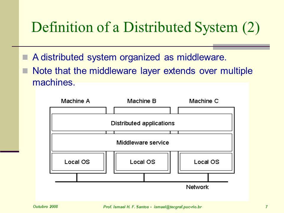 Outubro 2008 Prof. Ismael H. F. Santos - ismael@tecgraf.puc-rio.br 7 Definition of a Distributed System (2) 1.1 A distributed system organized as midd