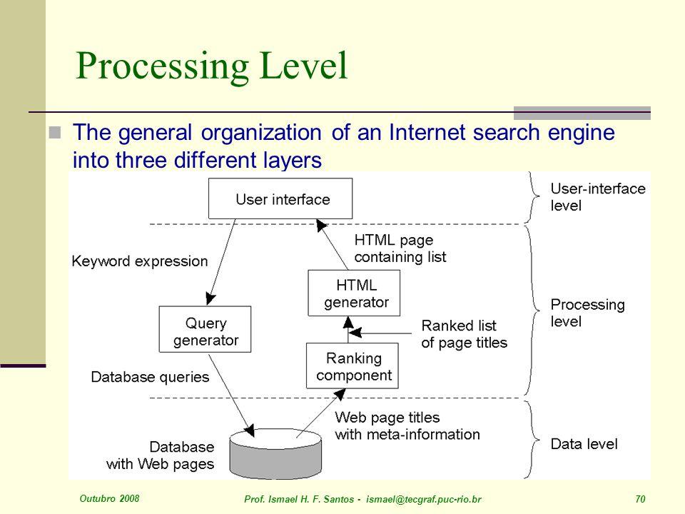 Outubro 2008 Prof. Ismael H. F. Santos - ismael@tecgraf.puc-rio.br 70 Processing Level The general organization of an Internet search engine into thre