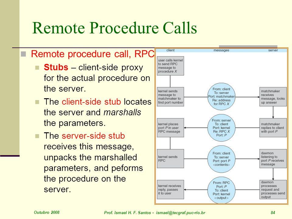 Outubro 2008 Prof. Ismael H. F. Santos - ismael@tecgraf.puc-rio.br 84 Remote Procedure Calls Remote procedure call, RPC Stubs – client-side proxy for