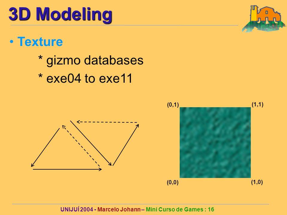 UNIJUÍ 2004 - Marcelo Johann – Mini Curso de Games : 16 3D Modeling Texture * gizmo databases * exe04 to exe11 (0,0) (1,0) (0,1) (1,1)