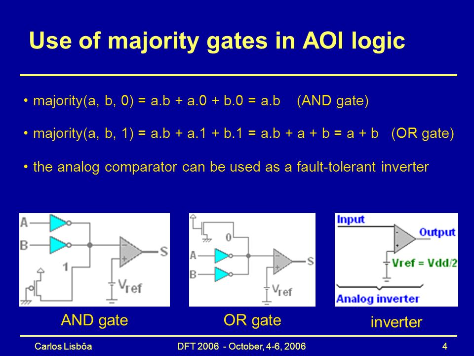 Carlos Lisbôa DFT 2006 - October, 4-6, 2006 4 Use of majority gates in AOI logic majority(a, b, 0) = a.b + a.0 + b.0 = a.b (AND gate) AND gate OR gate majority(a, b, 1) = a.b + a.1 + b.1 = a.b + a + b = a + b (OR gate) inverter the analog comparator can be used as a fault-tolerant inverter