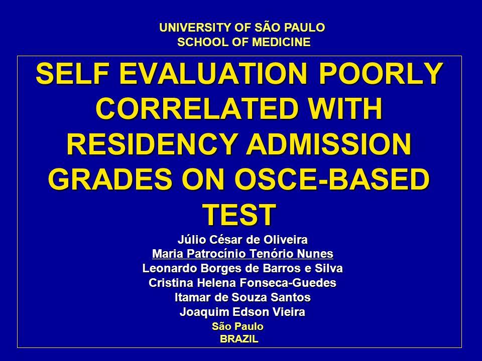SELF EVALUATION POORLY CORRELATED WITH RESIDENCY ADMISSION GRADES ON OSCE-BASED TEST Júlio César de Oliveira Maria Patrocínio Tenório Nunes Leonardo B