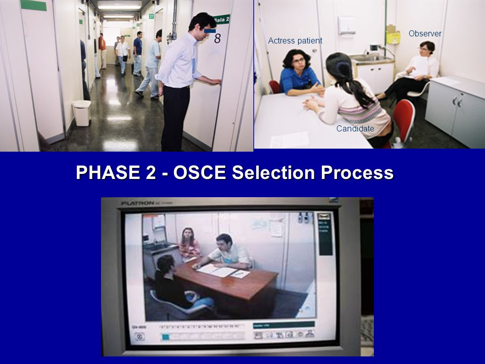 PHASE 2 - OSCE Selection Process Actress patient Candidate Observer