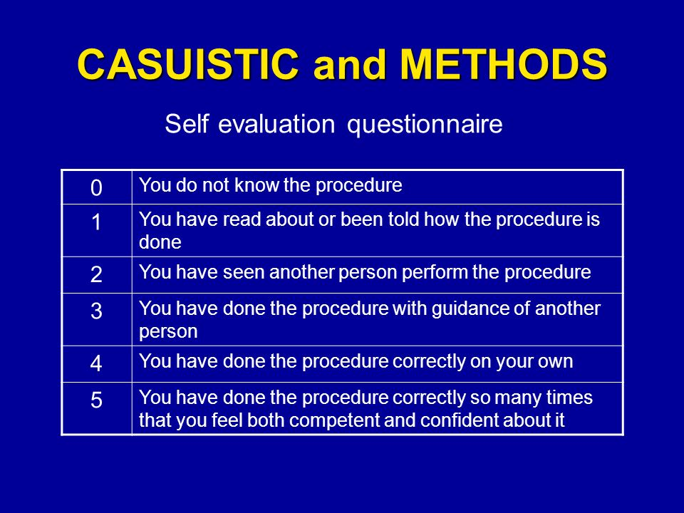 CASUISTIC and METHODS Self evaluation questionnaire 0 You do not know the procedure 1 You have read about or been told how the procedure is done 2 You have seen another person perform the procedure 3 You have done the procedure with guidance of another person 4 You have done the procedure correctly on your own 5 You have done the procedure correctly so many times that you feel both competent and confident about it