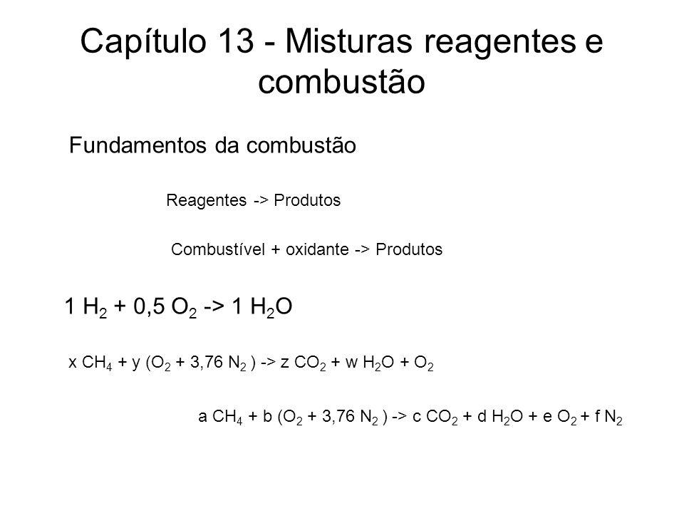 Capítulo 13 - Misturas reagentes e combustão Fundamentos da combustão Reagentes -> Produtos 1 H 2 + 0,5 O 2 -> 1 H 2 O Combustível + oxidante -> Produtos x CH 4 + y (O 2 + 3,76 N 2 ) -> z CO 2 + w H 2 O + O 2 a CH 4 + b (O 2 + 3,76 N 2 ) -> c CO 2 + d H 2 O + e O 2 + f N 2